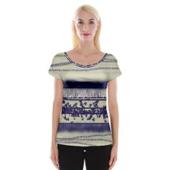 Abstract Beige Blue Lines Cap Sleeve Top