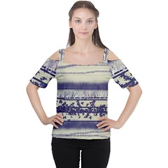 Abstract Beige Blue Lines Cutout Shoulder Tee