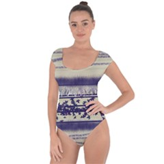 Abstract Beige Blue Lines Short Sleeve Leotard