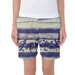 Abstract Beige Blue Lines Women s Basketball Shorts