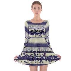Abstract Beige Blue Lines Long Sleeve Skater Dress