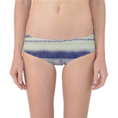 Abstract Beige Blue Lines Classic Bikini Bottoms