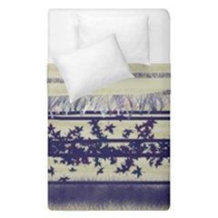 Abstract Beige Blue Lines Duvet Cover Double Side (single Size)