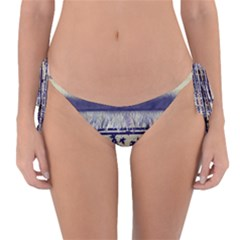 Abstract Beige Blue Lines Reversible Bikini Bottom