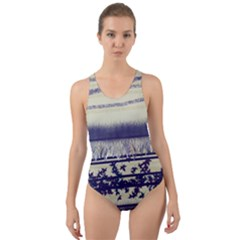 Abstract Beige Blue Lines Cut Out Back One Piece Swimsuit