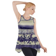 Abstract Beige Blue Lines Side Drop Tank Tunic