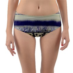 Abstract Beige Blue Lines Reversible Mid Waist Bikini Bottoms