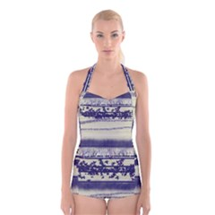 Abstract Beige Blue Lines Boyleg Halter Swimsuit