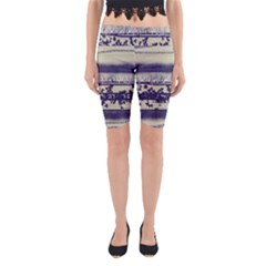 Abstract Beige Blue Lines Yoga Cropped Leggings