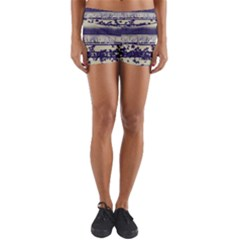 Abstract Beige Blue Lines Yoga Shorts