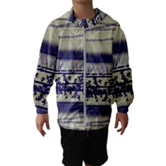 Abstract Beige Blue Lines Hooded Windbreaker (kids)