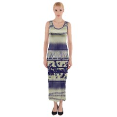 Abstract Beige Blue Lines Fitted Maxi Dress
