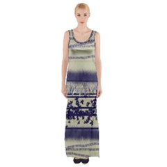 Abstract Beige Blue Lines Maxi Thigh Split Dress