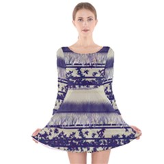 Abstract Beige Blue Lines Long Sleeve Velvet Skater Dress
