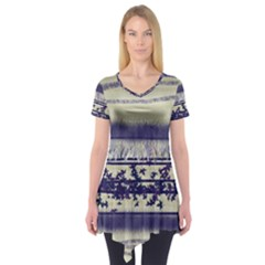 Abstract Beige Blue Lines Short Sleeve Tunic