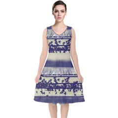 Abstract Beige Blue Lines V Neck Midi Sleeveless Dress