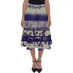 Abstract Beige Blue Lines Perfect Length Midi Skirt