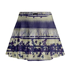 Abstract Beige Blue Lines Mini Flare Skirt