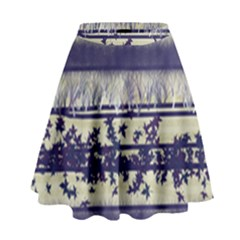 Abstract Beige Blue Lines High Waist Skirt