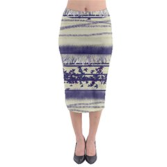 Abstract Beige Blue Lines Midi Pencil Skirt