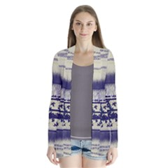 Abstract Beige Blue Lines Drape Collar Cardigan