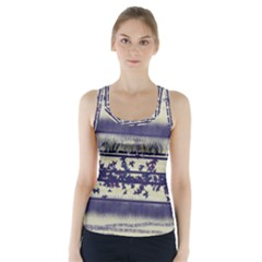 Abstract Beige Blue Lines Racer Back Sports Top