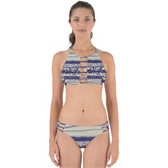 Abstract Beige Blue Lines Perfectly Cut Out Bikini Set