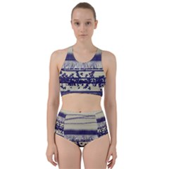 Abstract Beige Blue Lines Racer Back Bikini Set