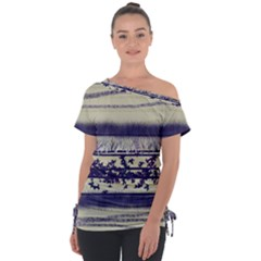 Abstract Beige Blue Lines Tie Up Tee