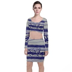 Abstract Beige Blue Lines Top And Skirt Sets