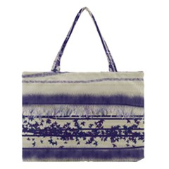 Abstract Beige Blue Lines Medium Tote Bag