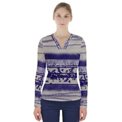 Abstract Beige Blue Lines V Neck Long Sleeve Top