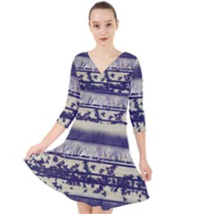Abstract Beige Blue Lines Quarter Sleeve Front Wrap Dress