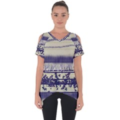 Abstract Beige Blue Lines Cut Out Side Drop Tee