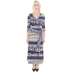 Abstract Beige Blue Lines Quarter Sleeve Wrap Maxi Dress