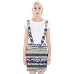 Abstract Beige Blue Lines Braces Suspender Skirt