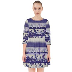 Abstract Beige Blue Lines Smock Dress
