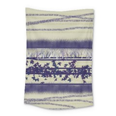 Abstract Beige Blue Lines Small Tapestry