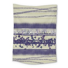Abstract Beige Blue Lines Medium Tapestry