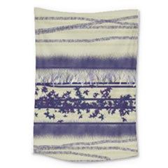 Abstract Beige Blue Lines Large Tapestry