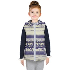 Abstract Beige Blue Lines Kid s Hooded Puffer Vest