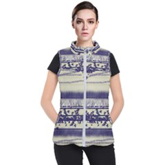 Abstract Beige Blue Lines Women s Puffer Vest