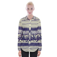 Abstract Beige Blue Lines Womens Long Sleeve Shirt