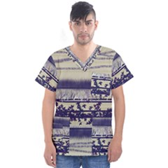 Abstract Beige Blue Lines Men s V Neck Scrub Top