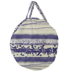 Abstract Beige Blue Lines Giant Round Zipper Tote