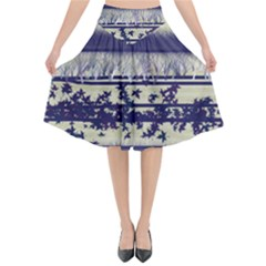 Abstract Beige Blue Lines Flared Midi Skirt