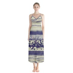Abstract Beige Blue Lines Button Up Chiffon Maxi Dress
