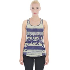 Abstract Beige Blue Lines Piece Up Tank Top