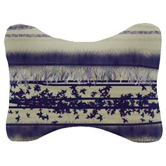 Abstract Beige Blue Lines Velour Seat Head Rest Cushion