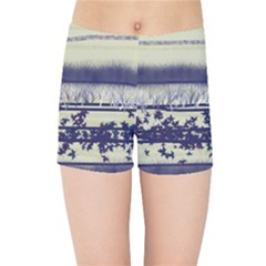 Abstract Beige Blue Lines Kids Sports Shorts